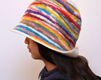 Women Hat Hand Felted Merino Wool : Rainbow Hat