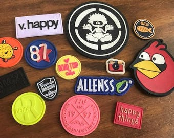"100 PVC patches - up to 3 colors - up to 3""x3"" - Made in USA"