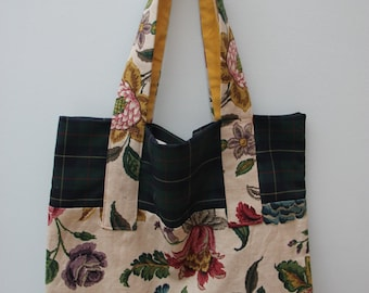 Canvas Tote Bag, Floral, Tartan, Blue, Green, Sandersons.