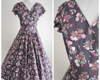 1950s Rayon taffeta floral print grey pink full skirt dress / 50s drop waist flower printed evening dress - S