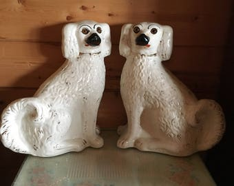 Pair of 19th Century White Wally Dogs