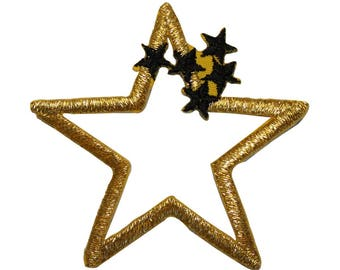ID 3513 Gold Star Outline With Cluster Patch Craft Embroidered Iron On Applique