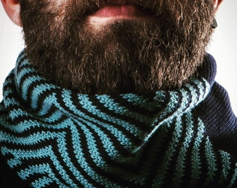 Scarf knitted wool. Winter. Gift for him. Accessories for men. Woollo handmade. Navy and cerulean // Handknitted, ideal for winter