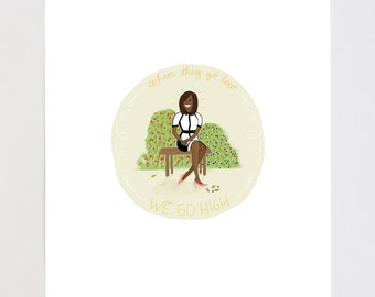 When They Go Low, We Go High Michelle Obama Portrait Illustration Art Print