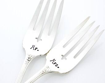Mr. and Mrs. ornate wedding forks, hand stamped silverware by MilkandHoney