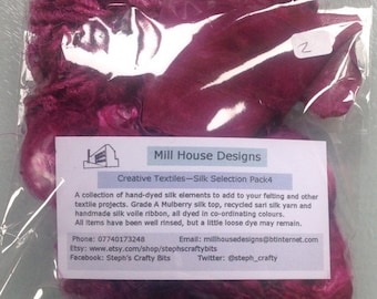 Hand-dyed creative textiles Silk Selection Pack 4