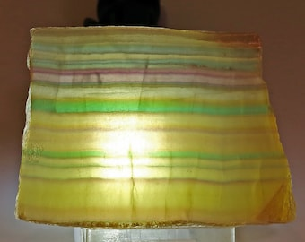 Beautiful Fluorescent Yellow Banded Rainbow Fluorite With Purple, Blue and Green Bands