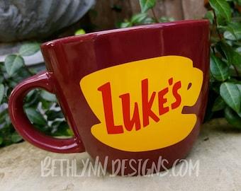Merlot ORIGINAL Luke's Diner Mug | Big Mug | Lukes mug | Lukes Diner | Gilmore Girls Inspired | VINYL decal logo BOTH sides |Stoneware