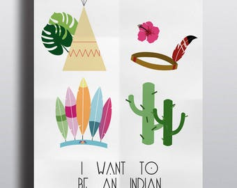 """""""Indian Package"""" A4 poster cactus teepee feather headdress"""
