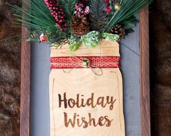 Holiday Wishes Wood Mason Jar Christmas Decor Sign