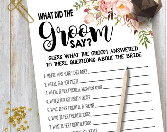 What Did the Groom Say game Bridal Shower game printable Wedding shower game Bachelorette party rustic game Instant download 15 G101