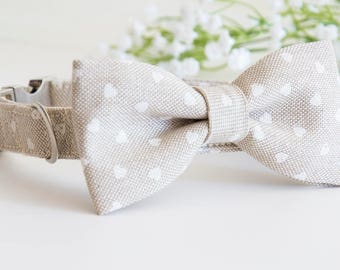 Dog BowTie Collar - Mrs. Manu - in a passional bed of hearts.
