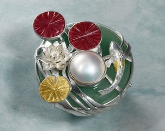 Water lily ring, mabe pearl ring, red copper ring, silver ring, gold Keum Boo ring