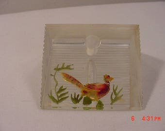 Vintage Lucite Reverse Painted Pheasant Desk Pen Holder  17 - 1158