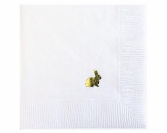 Easter Bunny serviettes de table - serviettes de table feuille d'or - Bunny serviette