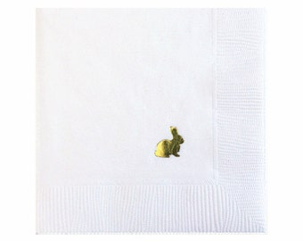 Easter Bunny Napkins - Gold Foil Napkins - Bunny Napkin