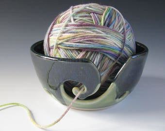 Ceramic Pottery Yarn Bowl Knitting Bowl in Midnight Blue and Spearmint Green Small Size