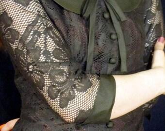 vintage off black lace peter pan Joan Holloway 50s dress