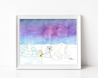 "Polar Bears - Prints - 8""x10"" - Wall Art - Gifts - Animals - Igloo - Nature Art - Home Decor - Winter Art - Arctic - Holidays - Hygge"