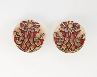 Vintage Renaissance Revival Clip On Earrings in Red Enamel and Gold Tone 1960s Button Earrings