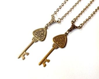 LOVE vintage skeleton key necklace, romantic jewelry