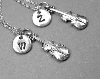 Best friend necklace, violin necklace, music necklace, BFF necklace, friendship jewelry, personalized necklace, initial necklace, monogram