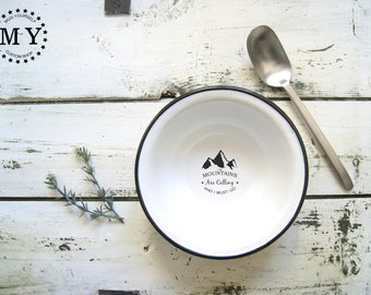 Enamel Camping Bowl / Mountains Are Calling / Personalized Bowl / Soup Bowl / Camping Dish / Custom Enamel Bowl / Mountains Bowl / Camp Gift