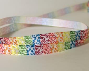 "Rainbow Swirls Printed Grosgrain Ribbon 3/8"" wide Scrapbooking HairBows Parties DIY Projects az481"
