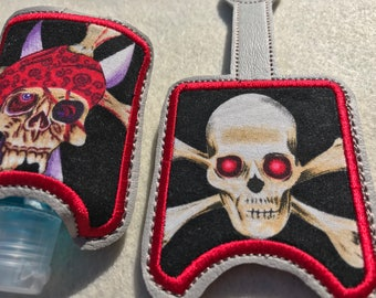 Pirate Hand Sanitizer holders, Hand Sanitizer case, travel size hand sanitizer, key chain holder, snap tab