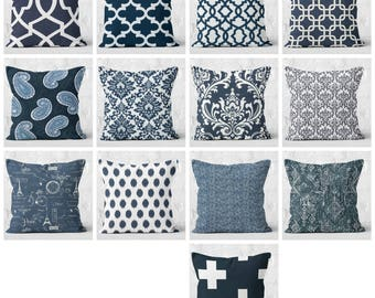 Navy blue pillow covers, navy and white decorative pillow covers, navy euro sham, pillow cover only,