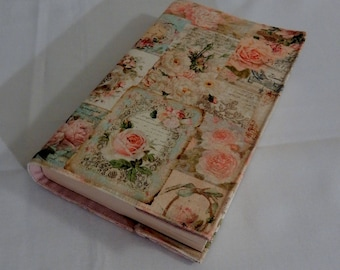 "Book cover for book of 23 cm tall, fabric ""Roses on postcards"", powder pink thick cotton lining"