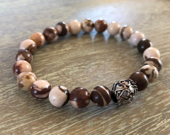 Brown Zebra Jasper Stretch Bracelet - Natural Stone