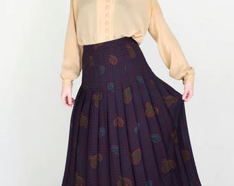 Vintage High Waisted Pleated Purple Paisley Houndstooth Plaid Maxi Skirt