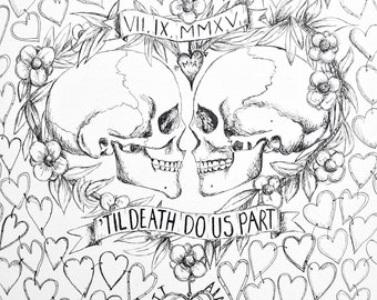 X-Small Til Death do us part Wedding Guest book, Alternative wedding, Hand Drawn in ink, includes 1 pen for guest to sign hearts.