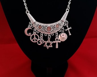Coexist charm bracelet silver tone chain with charms to coexist charm pendant necklace fancy silver tone connector with charms patterned chain to represent all aloadofball Gallery