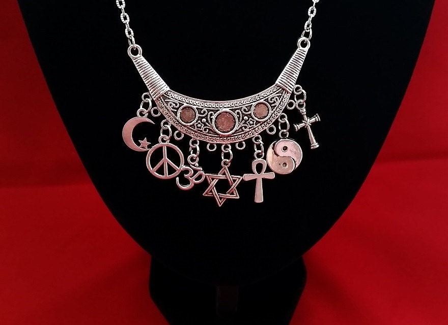 Coexist charm pendant necklace fancy silver tone connector zoom aloadofball Images