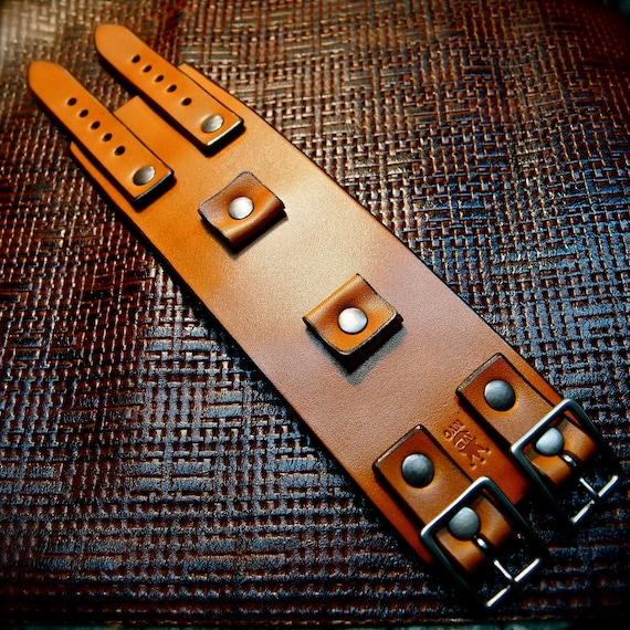 Leather cuff Bracelet watchband Vintage Johnny Depp style wristband Handmade for YOU in USA by Freddie Matara