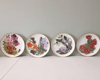 Set of 4 Wildflower Plates, Franklin Porcelain, Sierra Club Collector Series