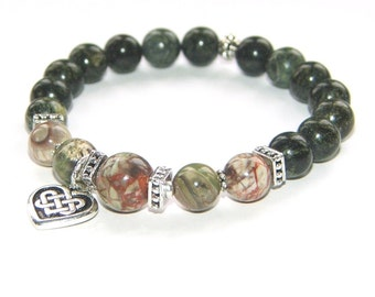 Rhyolite & Green Jasper Beaded Bracelet, Yoga Bracelet with Celtic Heart