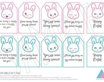 Easter teacher tags etsy emoji easter bunny editable printable bag tag teacher easter treats tag easter bunny editable negle