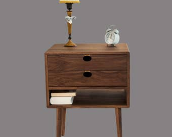 Bedside table Walnut/oak solid 1H2C Mind Century