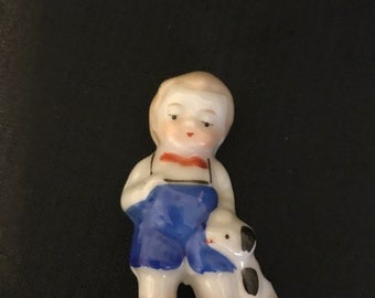 Vintage Figurines Occupied Japan Figurine Little Boy with Spotted Dog, Collectible Figurine, 1950's Figurine