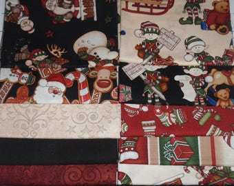 Holly Jolly Holiday Santa Snowman Elf Candy Cane Panel + 10 Fat Quarters Christmas Fabric