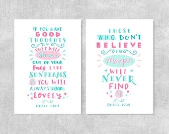 Roald Dahl Quote Prints, Nursery Wall Art, Girls Room Prints, Roald Dahl Sunbeams, Nursery Prints, Gift For Girl, Believe In Magic