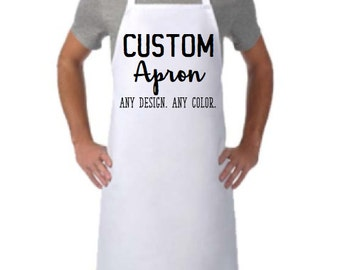 CUSTOM APRON, PERSONALIZED Apron, Apron with Logo, Monogrammed Apron, Apron with Initials, Apron with Name, Quality Chef Apron, Large Fit