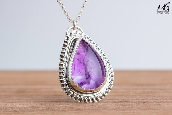 Purple Amethyst Gemstone Necklace in Sterling Silver