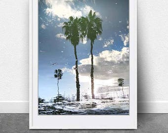 Reflect, DIGITAL DOWNLOAD, Palm Tree Photography, Photography, Blue,Clouds,Abstract Palm, Modern Wall Art,Contemporary Photography, Fine Art