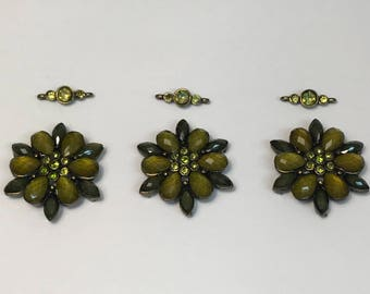 Large Floral Slider Bead, Six Hole Connector, Double Strand Link, Green Flower Connector with Matching Spacer bead, 2PC
