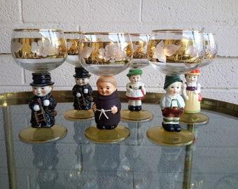 1950's Goebel Hummel Goblet Chalice Glasses Set of 6 Etched Grape and Leaf Porcelain Character / Caricature Stems