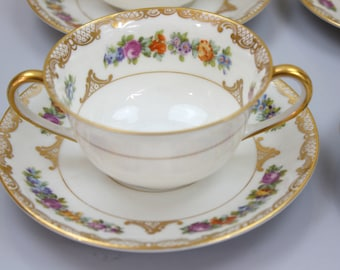 Dresden Floral Bouillon Cups and Saucers, Set of 4, Double Handled Soup Bowls, Floral and Gold Filigree, Royal Bayreuth China, c1920s,